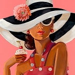 Cupcake Lady Giclée Print on Canvas