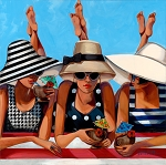 Beach Girls Giclée Print on Canvas