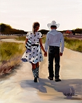 Cowboy Couple Giclée Print on Canvas