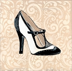 High Heel BW Buckle Giclée Print on Canvas