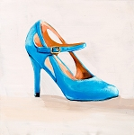 High Heel Blue Buckle Giclée Print on Canvas
