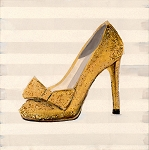 High Heel Gold Glitter Giclée Print on Canvas