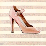 High Heel Pink Glitter Giclée Print on Canvas