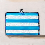 Purse Blue White Strip Glitter Giclée Print on Canvas