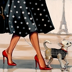 Stroll In Paris Giclée Print on Canvas