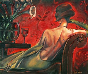 Bordeaux Lounge Giclée Print on Canvas