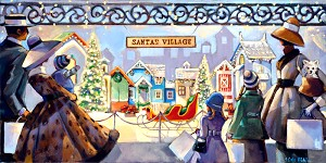 Santas Village Giclée Print on Canvas