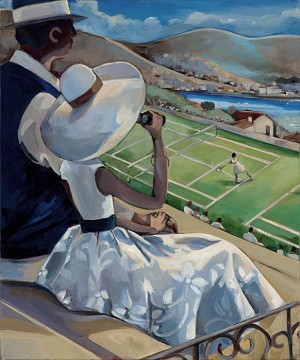 French Riviera Tennis 1 Giclée Print on Canvas