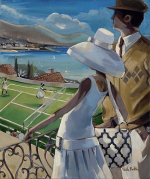 French Riviera Tennis 2 Giclée Print on Canvas