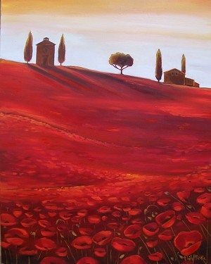 Tuscan Poppies 1 Giclée Print on Canvas