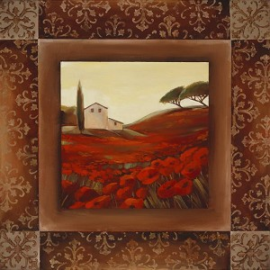 Title=Tuscan Poppies 12 Giclée Print on Canvas