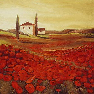 Tuscan Poppies 7 Giclée Print on Canvas