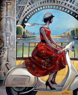 Vespa Red Dress Giclée Print on Canvas